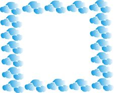 Free Hand-painted Border Of Blue Clouds Royalty Free Stock Images - 9814909