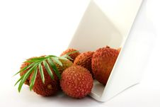 Free Lychee Spilling Out Of A Dish With Leaf Royalty Free Stock Photo - 9815025
