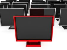 Free Front View Of Plasma Televisions Royalty Free Stock Image - 9815066