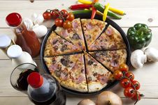 Free Pizza With Mushrooms Royalty Free Stock Photos - 9815078