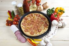 Free Pizza With Salami Stock Photo - 9815180