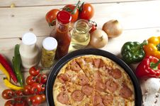 Free Pizza With Salami Royalty Free Stock Images - 9815349
