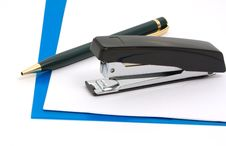 Free Black Stapler And Blue Folder Royalty Free Stock Photo - 9815915