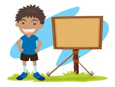 Free Boy And Notice Board Stock Images - 9816234