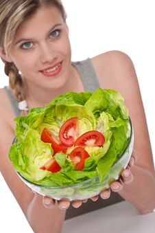 Healthy Lifestyle Series - Woman With Salad Stock Photos