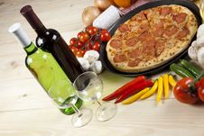 Free Pizza With Salami Stock Image - 9819021