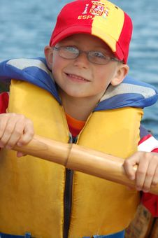Boy Rowing Royalty Free Stock Photos
