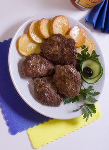 Pork Chops With Garnish Stock Photo