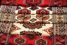 Few Handmade Carpets With Traditional Ornament. Stock Photography