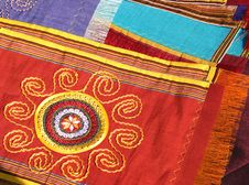 Handmade Textile For Traditional Women Dress. Royalty Free Stock Image