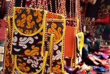 Handmade Purse With Traditional Ornament. Stock Photo