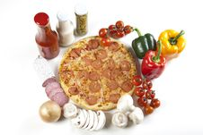 Free Pizza With Salami Stock Photo - 9821810