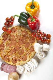 Free Pizza With Salami Royalty Free Stock Photo - 9821915