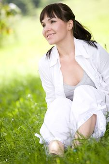 Free Woman On Grass Royalty Free Stock Image - 9821916