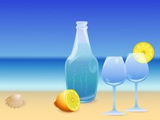 Free Water Bottle On The Beach Stock Images - 9821984