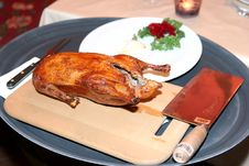Free Duck And Sharp Cleaver On A Platter Royalty Free Stock Image - 9822096