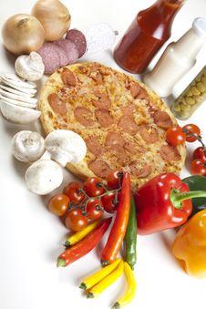 Free Pizza With Salami Stock Photos - 9822203