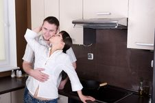 Free Couple In Kitchen Royalty Free Stock Photo - 9822285