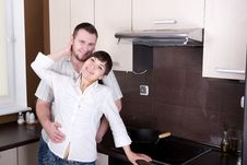 Free Couple In Kitchen Stock Photos - 9822293