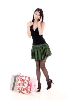 Free Asian Shopping Girl Royalty Free Stock Photo - 9822395