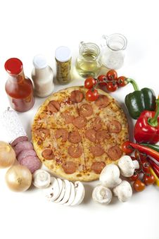 Free Pizza With Salami Royalty Free Stock Image - 9822596