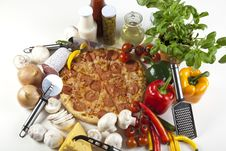 Free Pizza With Salami Stock Image - 9823121