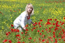 Free Blonde With Red Flower Stock Photography - 9823832