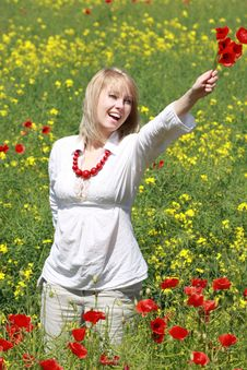 Free Blonde With Red Flower Stock Image - 9823861