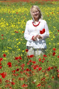 Free Blonde With Red Flower Stock Photos - 9823893