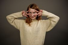 Free Smiling Red Haired Girl In Sweater Royalty Free Stock Image - 9824786
