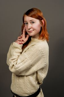 Free Red Haired Girl In Sweater Turned Stock Photo - 9824860