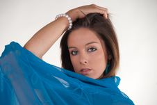Free Attractive Young Woman In Blue Shawl Royalty Free Stock Photo - 9824895