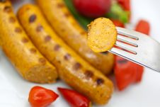 Fresh Grilled Sausages With Red Bell Pepper Stock Photography