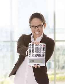 Free Stressed Business Woman Showing A Calculator - Hel Royalty Free Stock Photography - 9828487