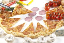 Free Pizza With Salami Stock Photography - 9829382