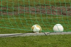 Free Soccer Balls In Goal Royalty Free Stock Photos - 9829878