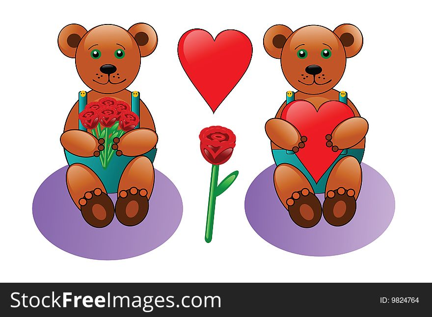 Teddy bear with heart and roses
