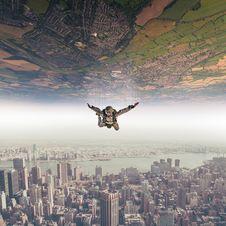 Free Parachutist Fall Sky Landscape Royalty Free Stock Image - 98271416
