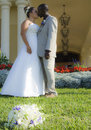 Free Mixed Race Wedding Couple Kiss Stock Image - 9834791
