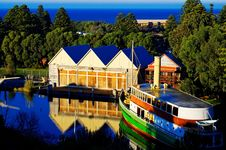 Old Boat House And Ferry Royalty Free Stock Photos