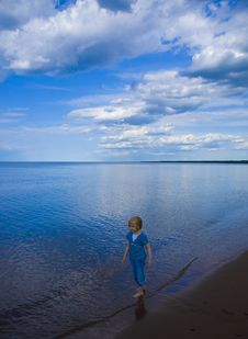 Free Child, Clouds, Beach, And Blue Royalty Free Stock Photo - 9833675