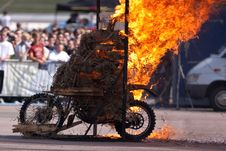 Free Stunt Rider And Wall Of Flames Stock Images - 9835174