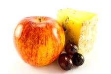 Red Apple, Blue Cheese And Grapes Royalty Free Stock Photos