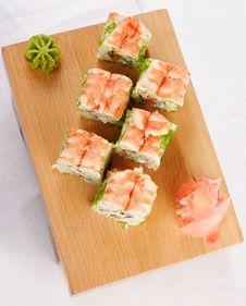 Sushi Futomaki With Shrimp Royalty Free Stock Photos