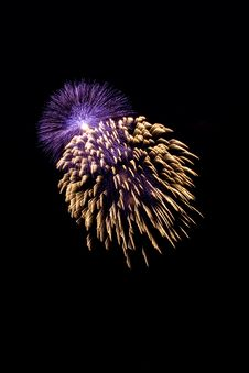 Free Blue And Yellow Firework At Night Stock Images - 9836054
