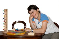 Free Smiling Woman Plays With Toys Isolated Royalty Free Stock Images - 9836069