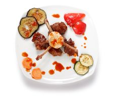 Free Bone Lamb Platter Top View. Teppan-yaki Dish Stock Photography - 9836242