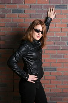 Free Pretty And Tough Looking Teen In Black Leather Stock Image - 9837831