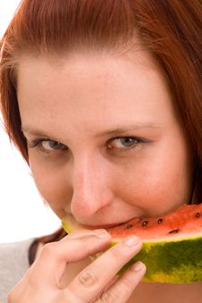 Free Woman Eating Water Melon Royalty Free Stock Images - 9837999