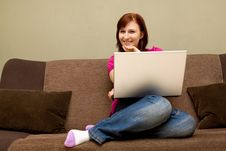 Free Woman With Laptop Stock Images - 9838244